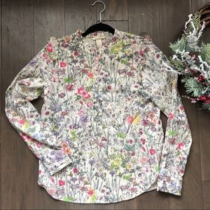 H&M Floral ruffled sleeves top